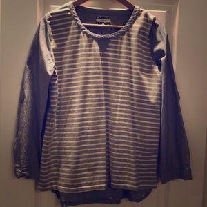 Mixed fabric tunic blouse